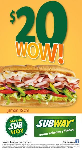 Subway: sub de jamón de 15 cm a $20
