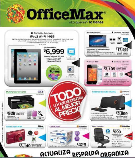 Folleto OfficeMax febrero: sistema de audio Panasonic gratis al comprar laptop Toshiba, 3x2 en Post-It y más