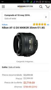 Black Friday en Amazon: lente Nikon af-s nikkor 35mm f1.8