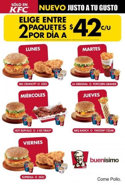 KFC: paquetes del día a $42
