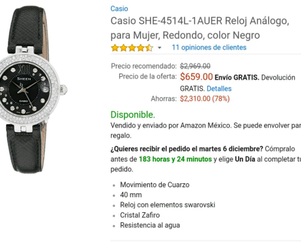 Amazon: Reloj casio para mujer de $2,969 a $659
