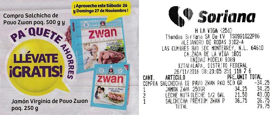 Soriana Híper: Compra Salchicha Pavo Premium Zwan paquete 500 grs. ($36.75) y te regalan paquete Jamón Pavo Zwan 250 grs. ($34.25)