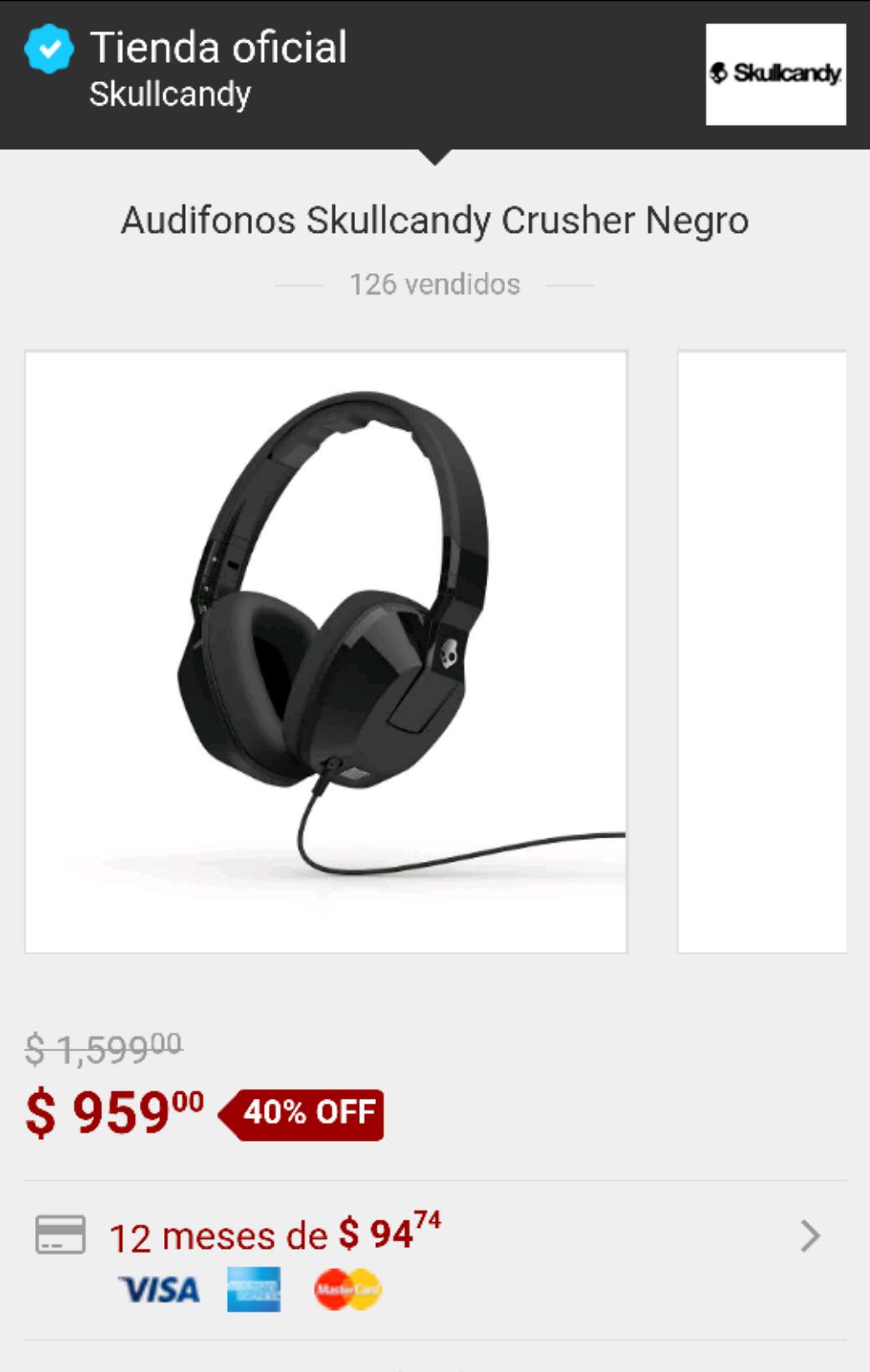Skullcandy en Mercadolibre: Audifonos Skullcandy Crusher a $959