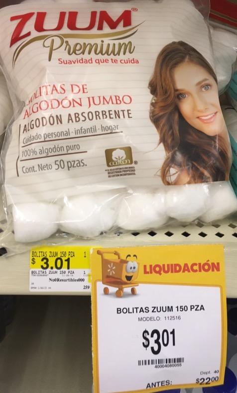 Walmart - 50 Bolitas de algodon a $3.01