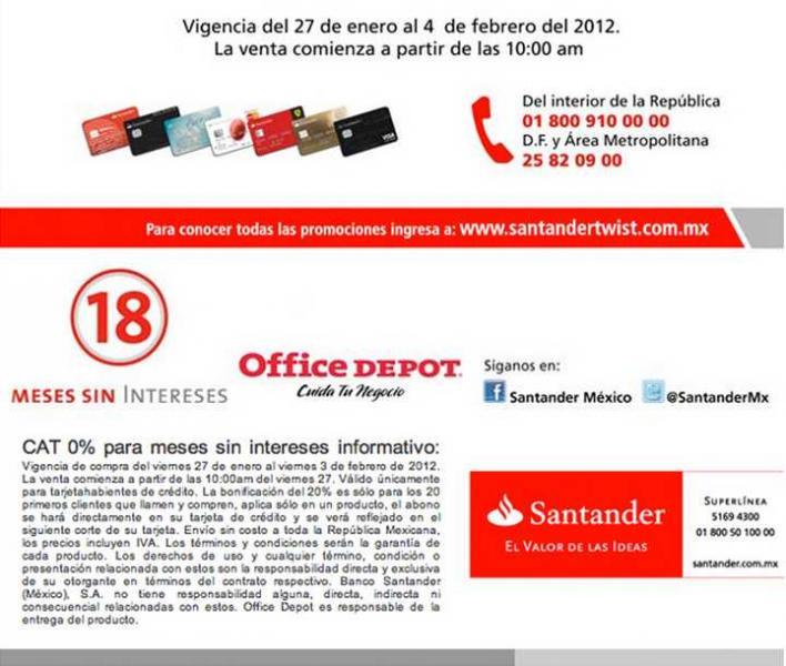Venta especial para clientes Santander en Office Depot a partir de las 10