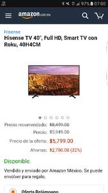 "Amazon: Hisense TV 40"", Full HD, Smart TV con Roku, 40H4CM"
