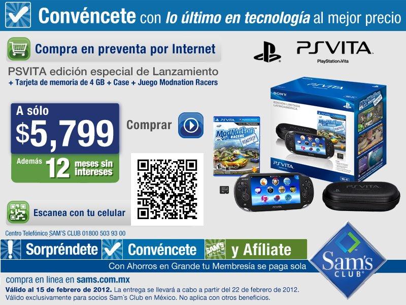 Sam´s Club: PS Vita edición especial a $5,799 y 12 meses sin intereses