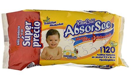 Amazon: KIeenBebé Absorsec, Toallas Húmedas para Bebé, 120 Toallas