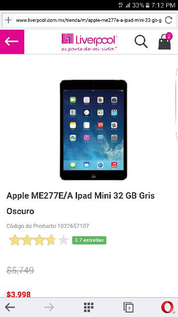Liverpool: iPad mini 32gb a $3,998