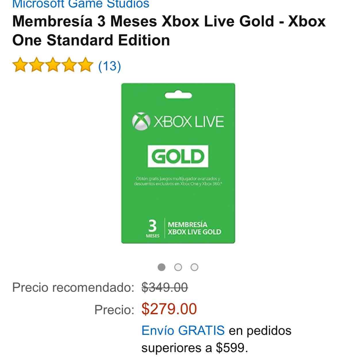 Amazon: Membresía 3 Meses Xbox Live Gold a $279