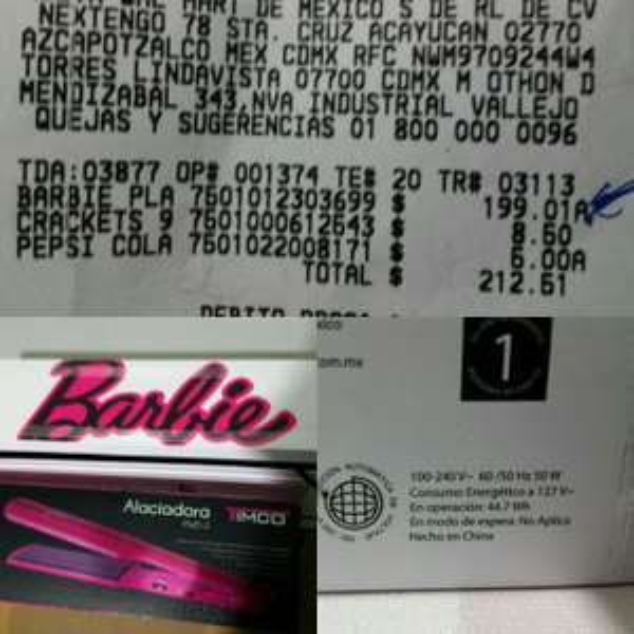 Walmart: Plancha para cabello Barbie Timco