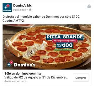Domino's Pizza Monterrey: $100 pizza grande un ingrediente con cupón AMTY2