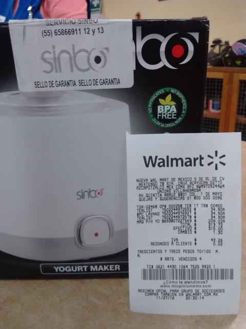 Walmart: Maquina para hacer yoghurt SINBO