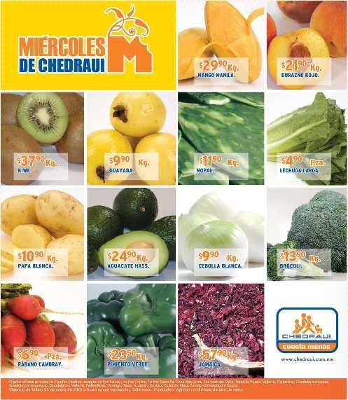 Miércoles frutas y verduras Chedraui enero 25: tomate $4.90, pera $16.90 y más