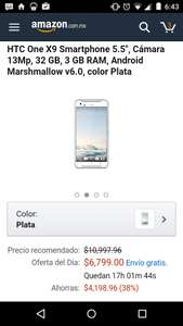 "Cyber Monday Amazon: HTC One X9 Smartphone 5.5"", Cámara 13Mp, 32 GB, 3 GB RAM, Android Marshmallow v6.0, color Plata"