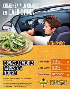 California Pizza Kitchen: cupón para descuentos de hasta 50%