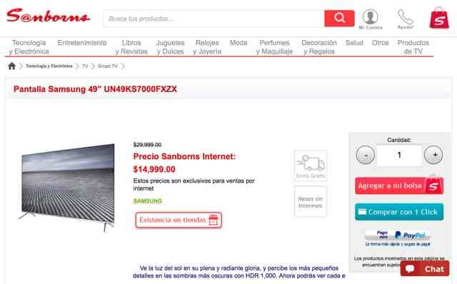Sanborns: OFERTA DE TV ks7000