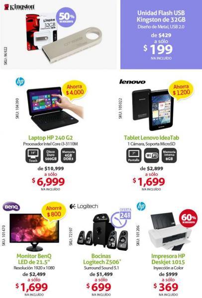 PCEL: bocinas Logitech Z506 $699, impresora HP $369, USB 32GB $199 y más