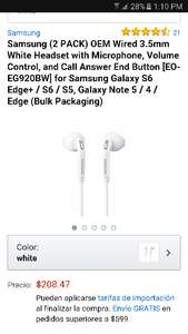Cyber Monday 2016 Amazon: Samsung 2 pack audifonos manos libres para s6 EO-EG920BW