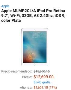 "Cyber Monday en Amazon:  iPad Pro Retina 9.7"", Apple MLMP2CL/A, Wi-Fi, 32GB, A8 2.4Ghz, color Plata"