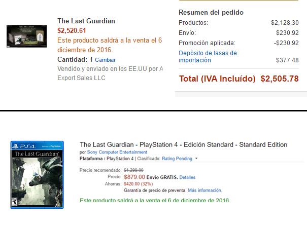 Amazon MX: The Last Guardian Edicion Coleccionista $2,505 y Standar  $879
