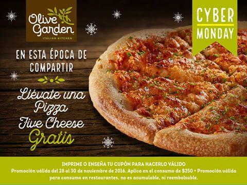 Olive Garden: Pizza Five Cheese gratis consumiendo $250 o mas