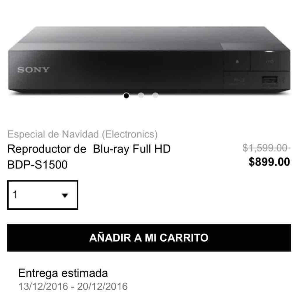 Privalia: reproductor BLU-RAY Sony wi-fi full HD nuevo $ 899 pesotes