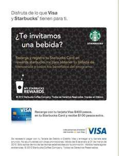 Starbucks: $100 extra recargando con VISA