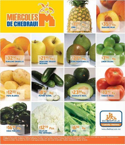 Miércoles de frutas y verduras Chedraui enero 18: sandía $3.59, papaya $7.45 y más