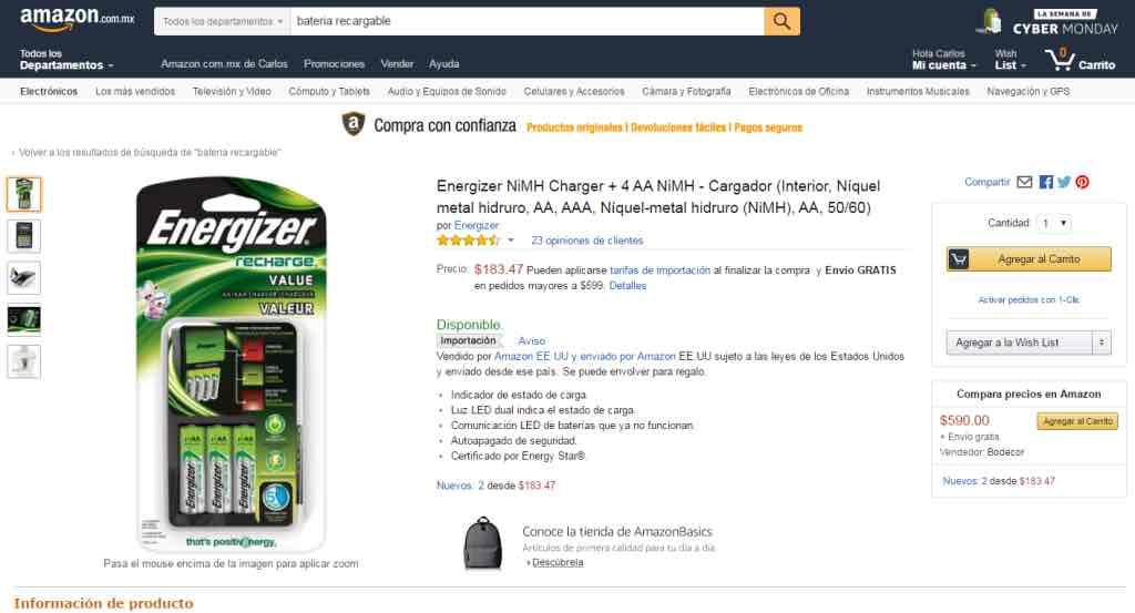 Amazon: Cargador de pilas Energizer + 4 pilas NiMH modelo CHVCMWB-4