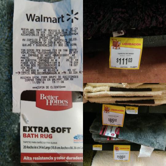 Walmart Copilco: liquidación de tapetes para baño