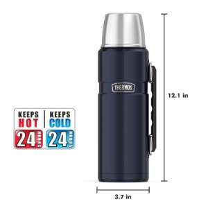 Amazon: Thermos. Botella de acero inoxidable de 1.2 litros, color azul.