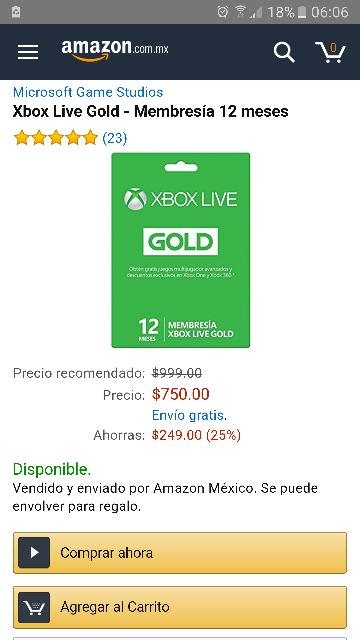 Amazon México: Xbox Live 12 meses.