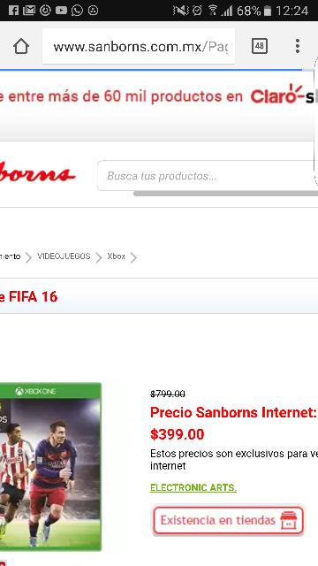 Sanborns: Fifa 2016 en 399 solo por Internet, juego físico