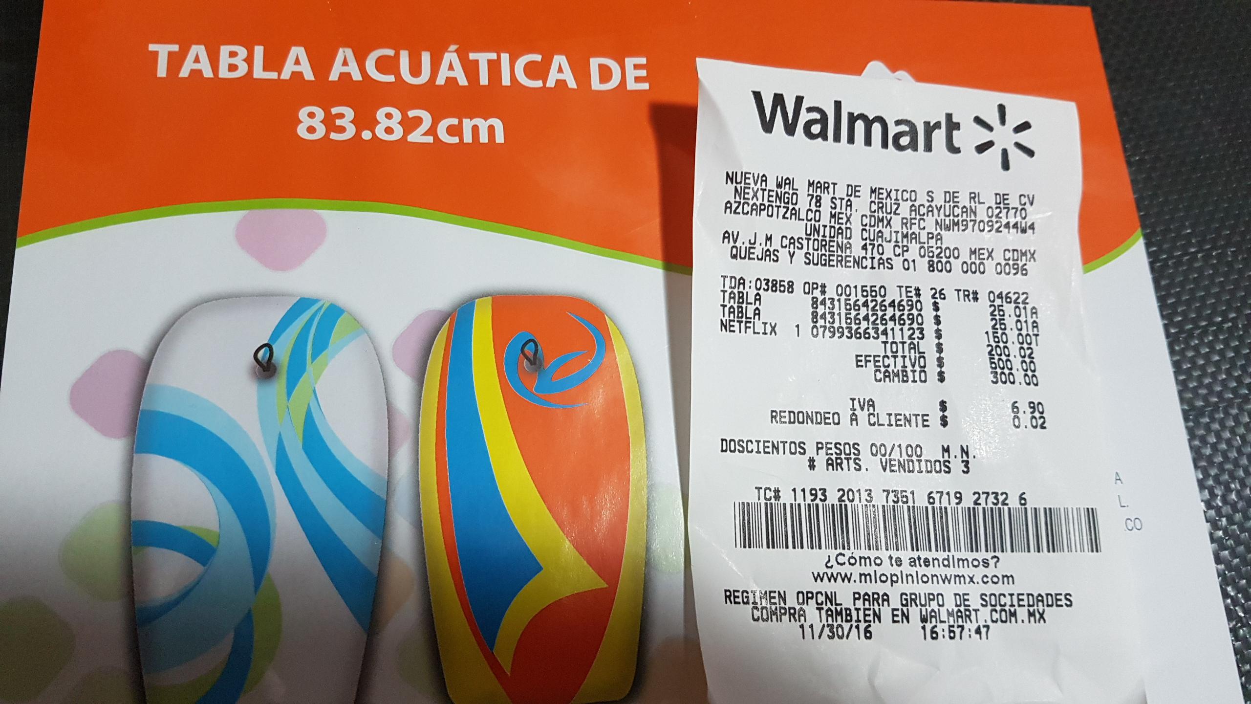 Walmart Cuajimalpa: Tabla Acuatica 83cm a $25.01