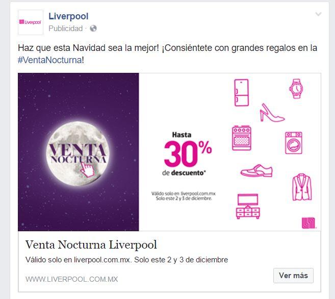Liverpool online: Venta Nocturna hasta 30% descuento   2 y 3 de Diciembre