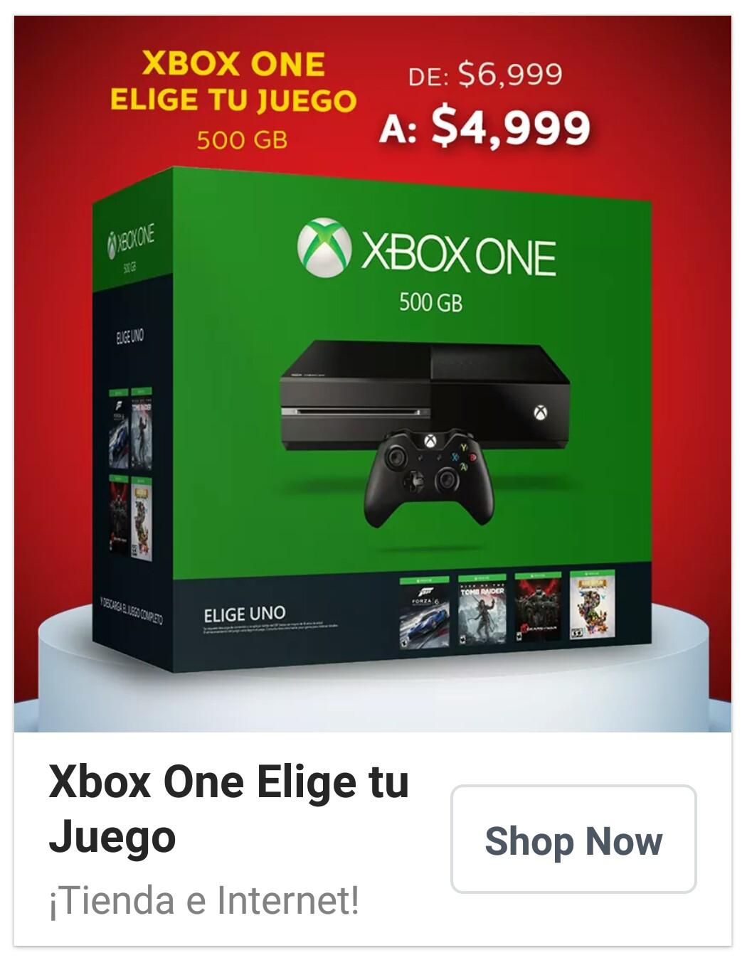 Sanborns en línea: Xbox One 500Gb + Elige tu juego a 4999.