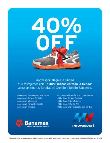 Innova Sport y Nike Store: 40% de descuento al pagar con Banamex