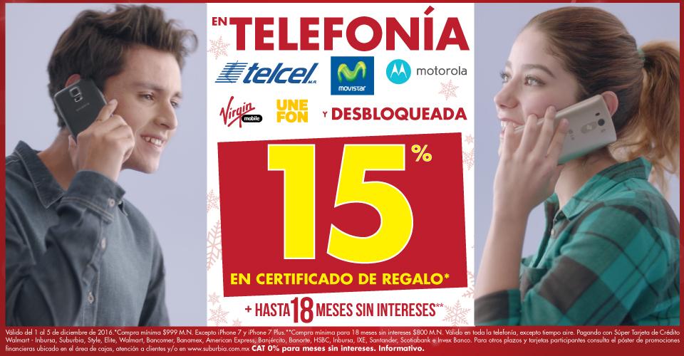 Suburbia: 15% en certificado en telefonía y 18 msi