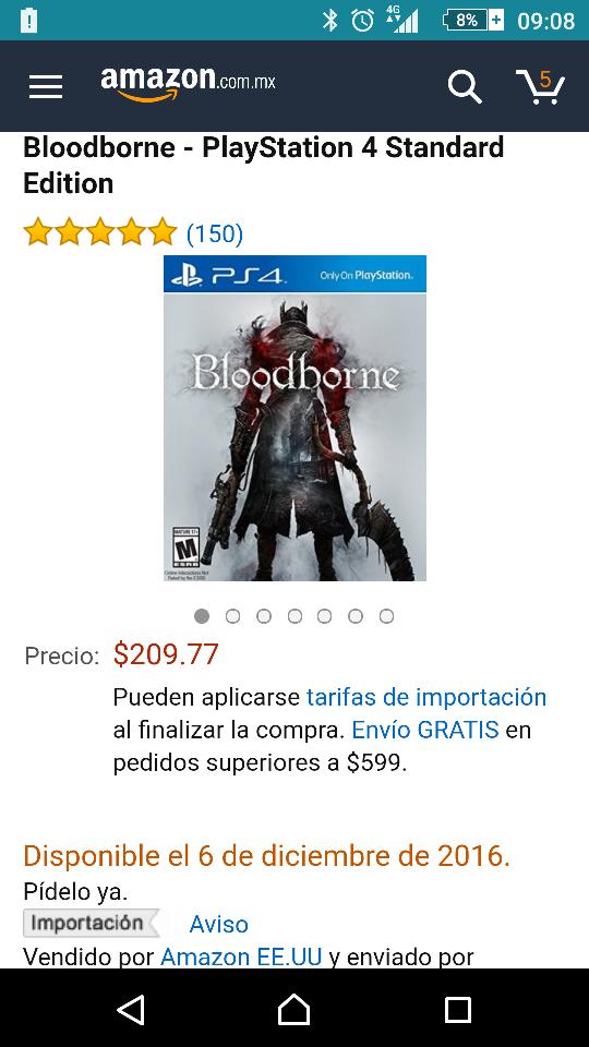 Amazon: Bloodborne para PS4 a $210