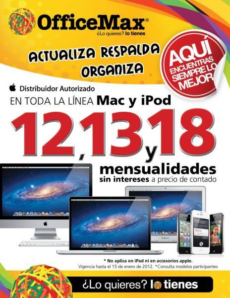 OfficeMax: 12, 13 y 18 MSI en toda la línea Mac y iPod a precio de contado