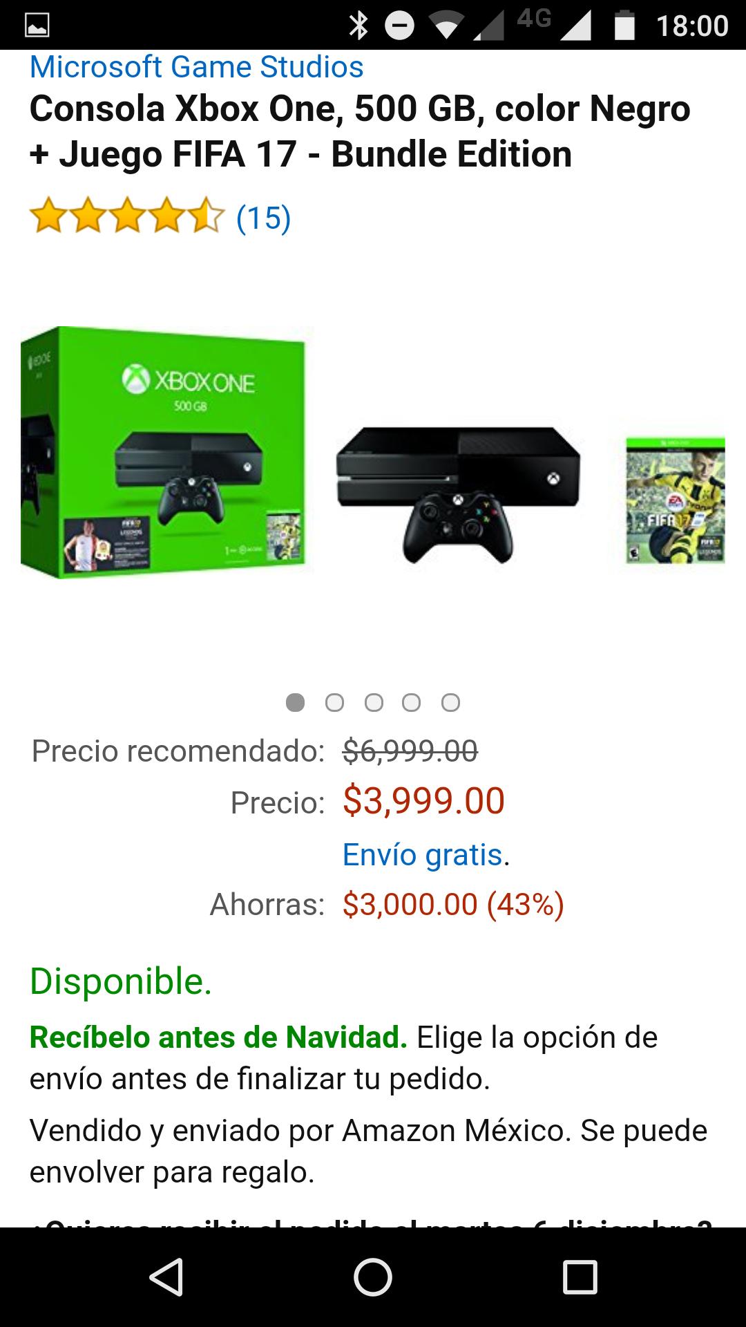Amazon: XBOX ONE FIFA 17 en $3,999