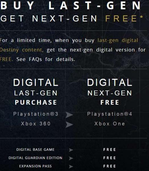 Destiny: gratis versión para PS4 o Xbox One comprando juego para PS3 o Xbox 360
