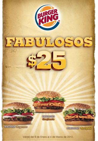 Burger King: Whopper Supreme, Fabuloso Crujiente y más a $25