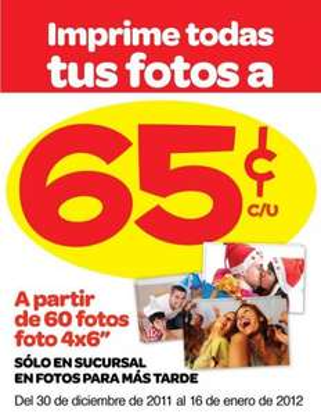 Farmacias Benavides: fotos a 65 centavos a partir de 60
