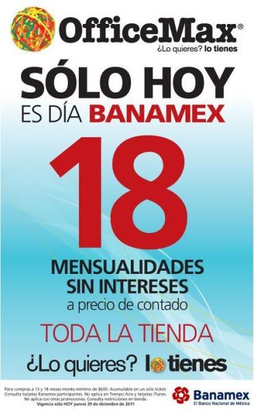 Día Banamex en OfficeMax: 18 MSI en toda la tienda a precio de contado