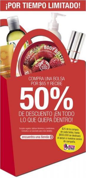 The Body Shop: compra una bolsa a $65 y recibe 50% en lo que quepa