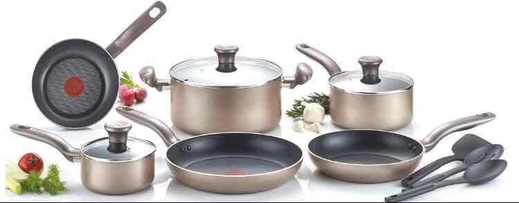 Amazon: batería de cocina T-Fal 12 piezas color bronce