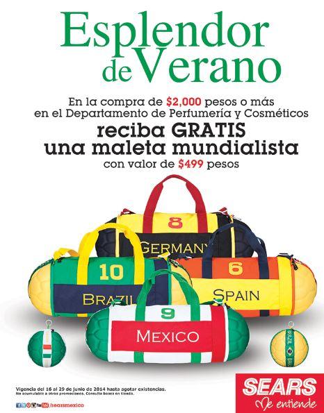 Sears: maleta mundialista gratis al comprar en perfumería y cosméticos