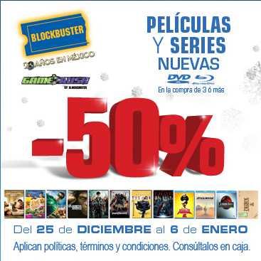 Blockbuster: 50% de descuento en películas y series en tienda